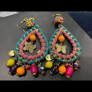 Funky drop earrings butterflies